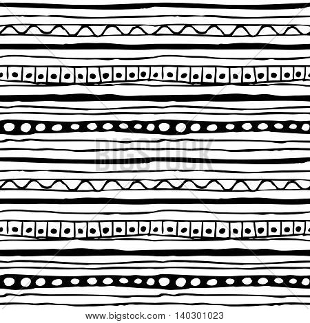 Monochrome hand drawn seamless pattern with black striped ornament