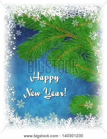 Happy New Year greeting card. Vector winter illustration with green pine branch on textured blue background with frame of white snowflakes. Frozen window effect