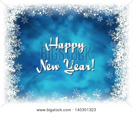 Happy New Year greeting card. Vector textured blue background with frame of white snowflakes. Frozen window effect