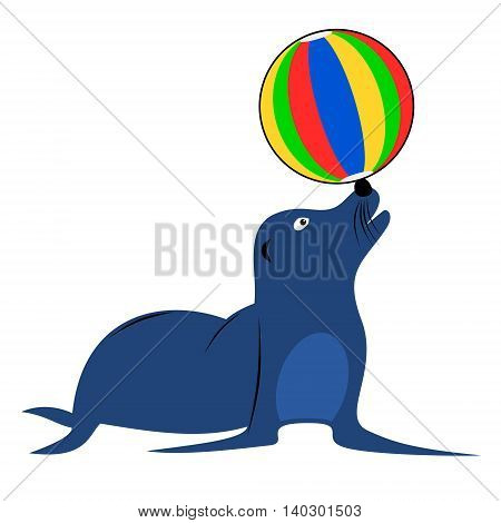 Blue sea lion playing with beach ball. Isolated cartoon childish vector illustration.