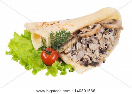 Pancakes with meat and mushrooms on a white background isolated