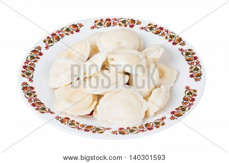 Ukrainian dumplings with cottage cheese on plate on white background isolated