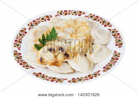 Ukrainian dumplings with mushrooms on plate on white background isolated