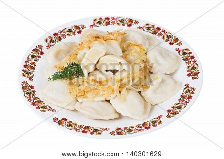 Ukrainian dumplings with potatoes on plate on white background isolated