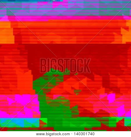 Red and green background in style glitch- art. Vector illustration.