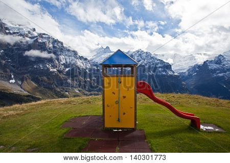 a slide with panoramic view of Alps, Switzerland