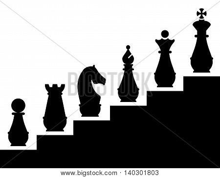 Illustration of career advancement in the form of chess pieces placed on the stairs