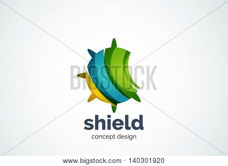 Round shield logo template, security or safe concept - geometric minimal style, created with overlapping curve elements and waves. Corporate identity emblem, abstract business company branding element