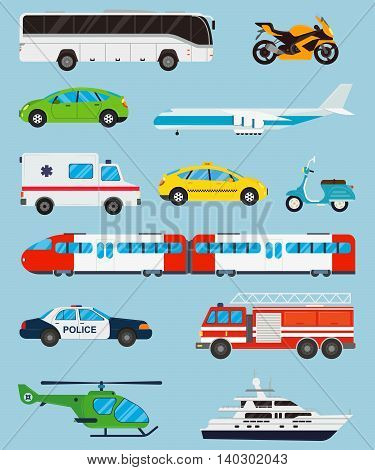 Transport icons set. Municipal and Travel transport. Public transport. Flat design style. Vector illustration