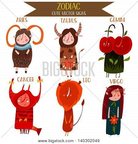 Cute Vector Set Of Zodiac Signs.part 1: Aries,taurus, Gemini, Cancer, Leo, Virgo. Cute Cartoon Astro