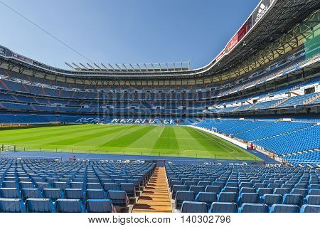 MADRID,SPAIN-MARCH 2016: View on Real Madrid stadium  from the tribune
