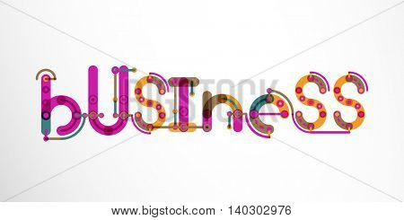 Business word lettering, wire minimalistic thin line design