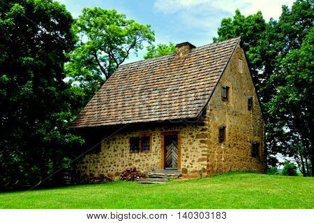 Lancaster Pennsylvania - June 5 2015: 1719 Hans Herr House is the oldest Mennonite Meeting House in the Western Hemisphere