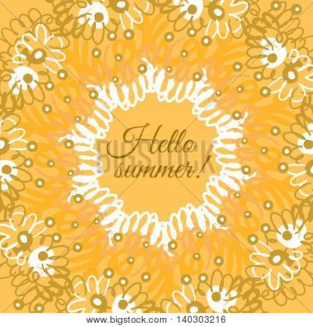 Hello summer typographic poster. Creative frame. Design for summer sales, banners, advertisment. Vector illustration
