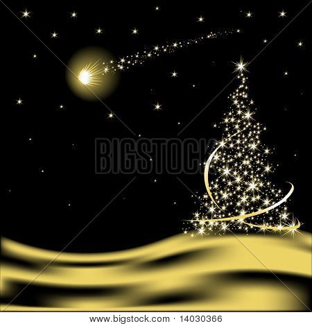 Vector Christmas tree with falling star in desert