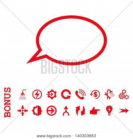 Hint Cloud glyph icon. Image style is a flat iconic symbol, red color, white background.