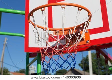Basketball Board And Hoop In An Outside Arena
