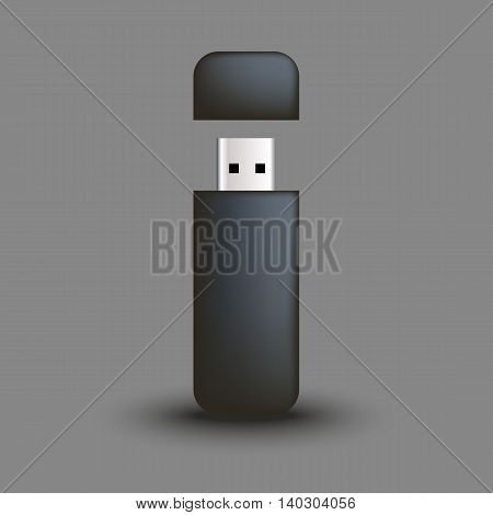 Template for advertising and corporate identity. Flash USB driver. Blank mockup for design. Vector object