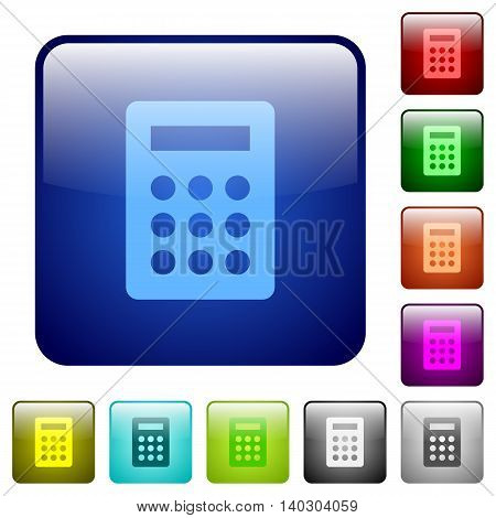 Set of calculator color glass rounded square buttons