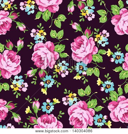 Seamless floral pattern with pink roses on a dark background