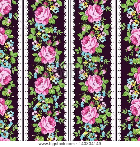 Seamless floral pattern with pink roses forget-me-not