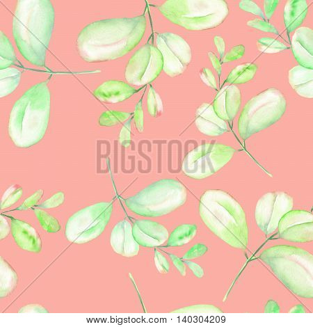 Seamless floral pattern with the abstract watercolor green and pink branches, hand drawn on a pink background