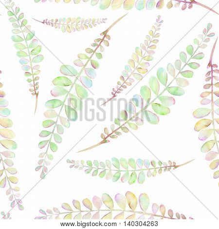 Seamless floral pattern with the abstract watercolor green and pink branches, hand drawn on a white background