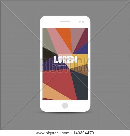 Template for advertising and corporate identity. Mobile phone. Blank mockup for design. Vector white object