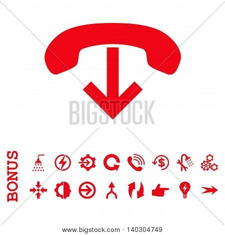 Phone Hang Up glyph icon. Image style is a flat iconic symbol, red color, white background.