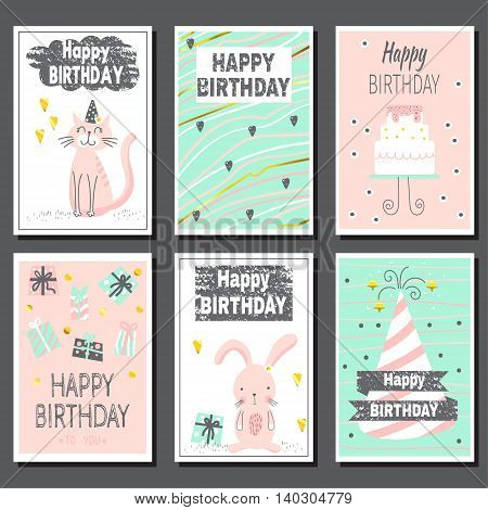 Set of six children's cards. Cute birthday cards. can be used for birthday party invitations and greeting cards