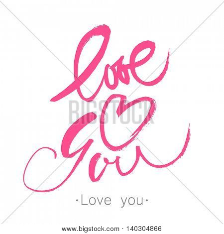 I love you. Valentines day calligraphy card. Hand drawn design elements. Vector illustration.