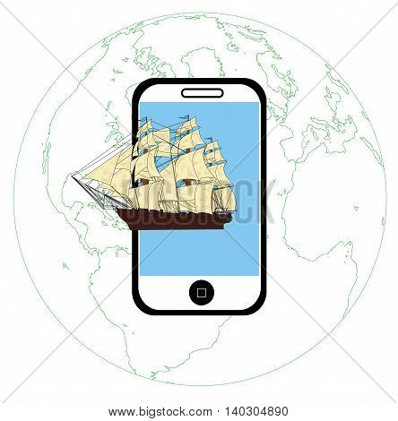 Ship comes up from the telephone. concept of modern technology features. vector illustration.