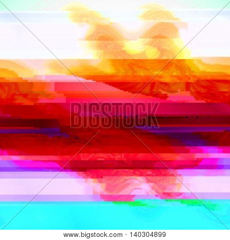 Background with red and blue stripes in style glitch- art. Vector illustration.