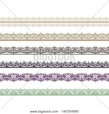 Border decoration elements patterns. Vector illustrations. Could be used as divider frame.