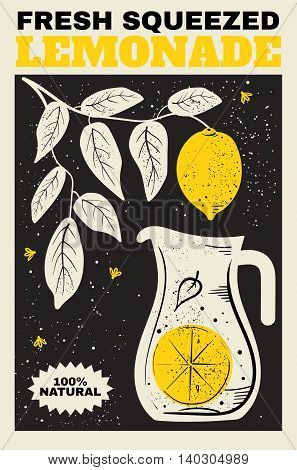 Fresh Lemonade. Illustration of a pitcher of lemonade and a branch with lemons in the background. The poster label banner for your design.