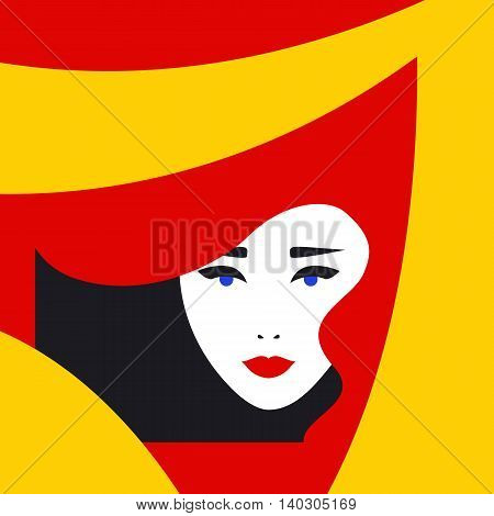 Fashion lady retro style, beautiful woman face, makeup, visage, Vector illustration