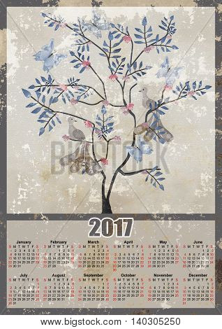 Fairy tree with birds and butterflies 2017 grunge calendar design printable illustration