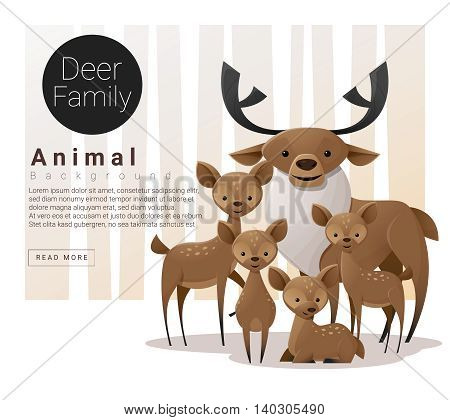 Cute animal family background with Deers , vector , illustration