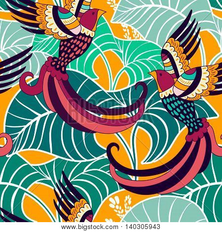 Colorful vector backdrop, wallpaper. Floral tropical background