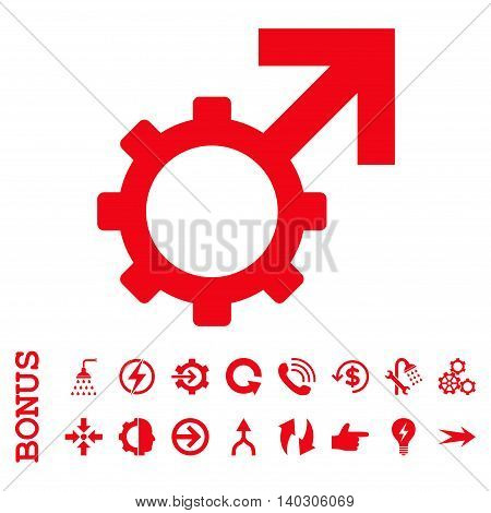 Technological Potence glyph icon. Image style is a flat pictogram symbol, red color, white background.
