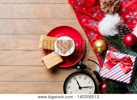 Cup Of Coffee, Clock, Cookies And Christmas Decorations