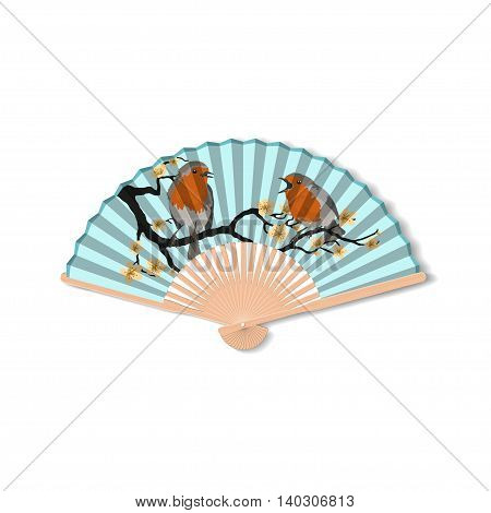 Fan for kabuki dance. Geisha accessories. Fan with the image of birds. Vector illustration