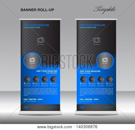 Blue Roll up banner stand template display advertisement flyer vector