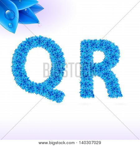 Sans serif font with blue leaf decoration on white background. Q and R letters