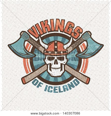 Logo with iceland viking skull in a horned helmet and crossed axes. Brutal warrior mascot sports team in old school retro style. Background texture sign and text on separate layers.