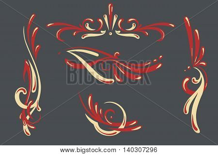 vector set of 5 different hand drawn swirl styled pin stripes graphic ornaments in two colors