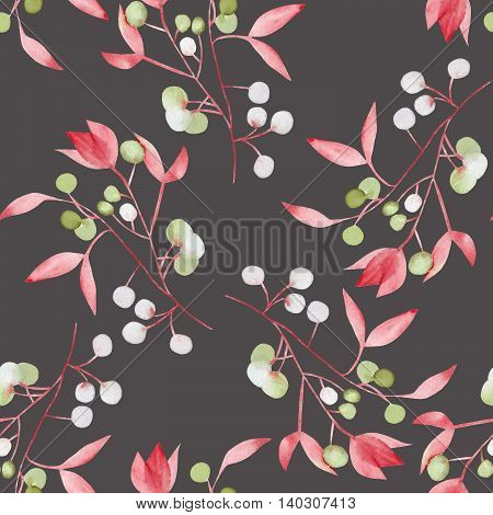 Seamless floral pattern with the watercolor red leaves on the branches and green berries (Mistletoe), hand drawn on a dark background
