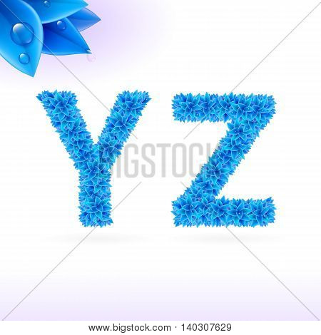 Sans serif font with blue leaf decoration on white background. Y and Z letters