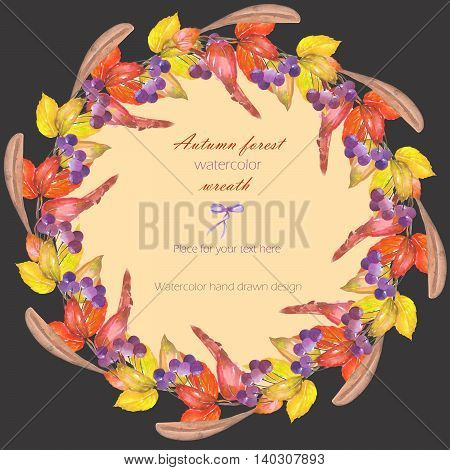 Circle frame, wreath with a floral ornament of the watercolor red autumn leaves on the branches and viburnum berries on a dark background