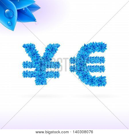 Sans serif font with blue leaf decoration on white background. Yen and euro signs
